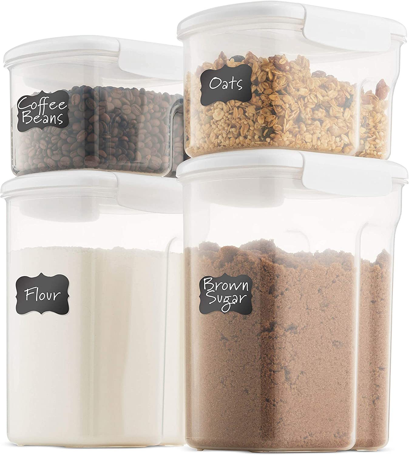 Airtight Food Storage Containers With Lids [4 Piece] BPA Free & 100% Leak Proof Food Containers Set - Dry Food Storage Container Set For Cereal, Flour, Sugar, Coffee, Rice, Nuts, Snacks, Pet Food
