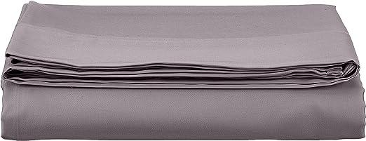 AmazonBasics - Sábana encimera (algodón satén 400 hilos, antiarrugas), 240 x 320 + 10 cm - Gris oscuro: Amazon.es: Hogar