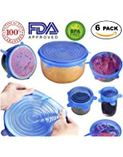 Silicone Stretch Lids - Reusable, Durable, Expandable Covers BPA Free, FDA Approved for Keeping Food Fresh, Dishwasher, Microwave, Freezer Safe, 6-Pack of Various Sizes to Fit Various Shaped Containers (Blue)