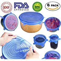 Silicone Stretch Lids - Reusable, Durable, Expandable Covers BPA Free, FDA Approved for Keeping Food Fresh, Dishwasher, Microwave, Freezer Safe, 6-Pack of Various Sizes to Fit Various Shaped Containers
