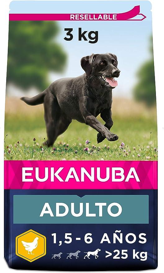 Eukanuba Alimento seco para perros adultos activos de raza grande,, rico en pollo fresco 3 kg