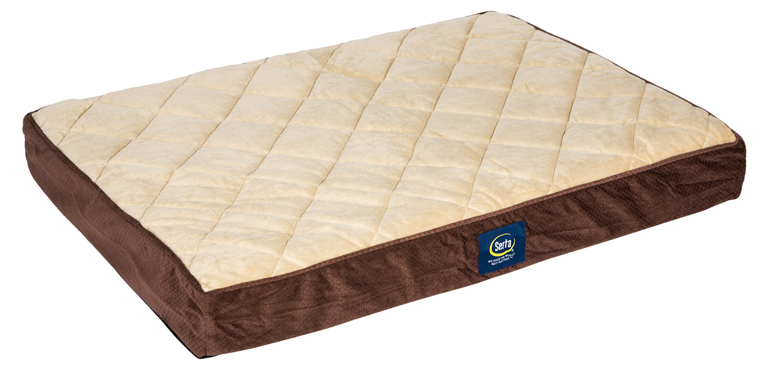 Serta Ortho Quilted Pillowtop Pet Bed, Large, Mocha by Serta