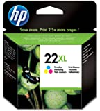 HP 22XL - Cartucho de tinta Original HP 22 XL de álta capacidad Tricolor para HP DeskJet 2130, 3630 HP OfficeJet 3830, 4650 HP ENVY 4520