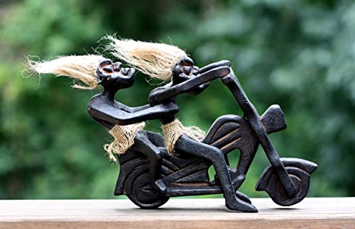 G6 Collection Handmade Wooden Primitive Tribal Funny Riding Harley Davidson Statue Motorcycle Sculpture Tiki Bar Unique Gift Wood Decorative Home Decor Figurine Decoration Hand Carved Harley Statue