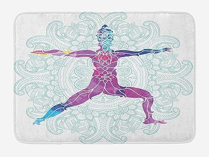 Chakra Bath Mat, Girl on Yoga Warrior Pose with Lotus Flower ...
