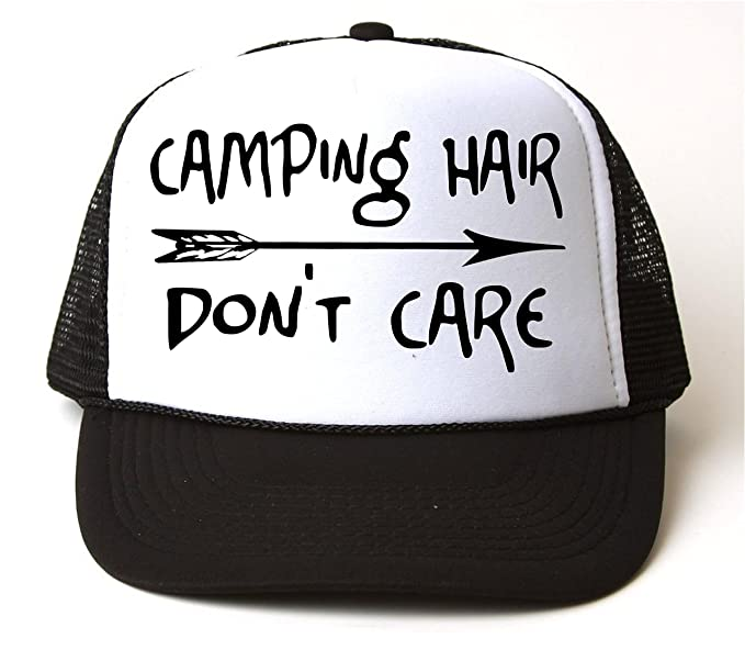 Camping Hair Don t Care Trucker Snapback Baseball Cap Vacation Black White a4ce7b7a05b