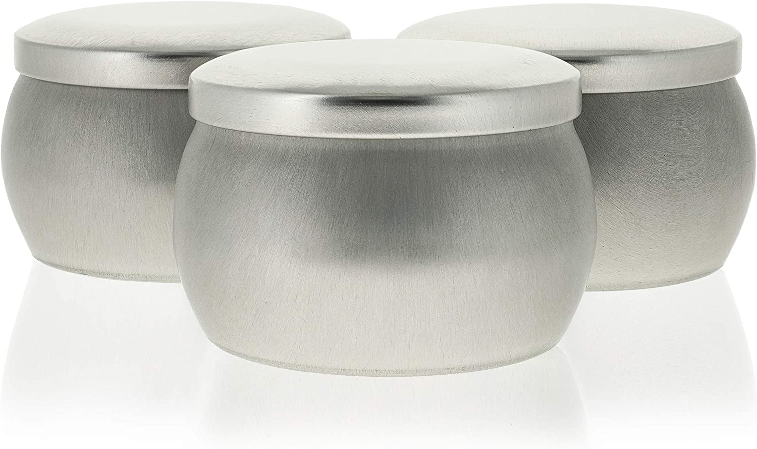 Candle Tins for Making Candles, Tin Jars with Lids (Silver, 3 x 2 In, 24 Pack)