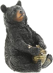 "Black Bear with Beehive Resin Figurine, 8"""