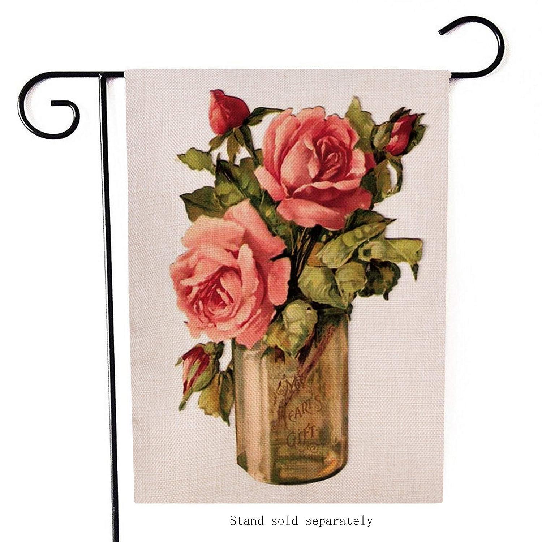 60bae785444 Dyrenson Home Decorative Vintage Rose Flowers Small Garden Flag Love  Valentine's Day Double Sided Vase, House Burlap Floral Antique Yard  Decoration, ...