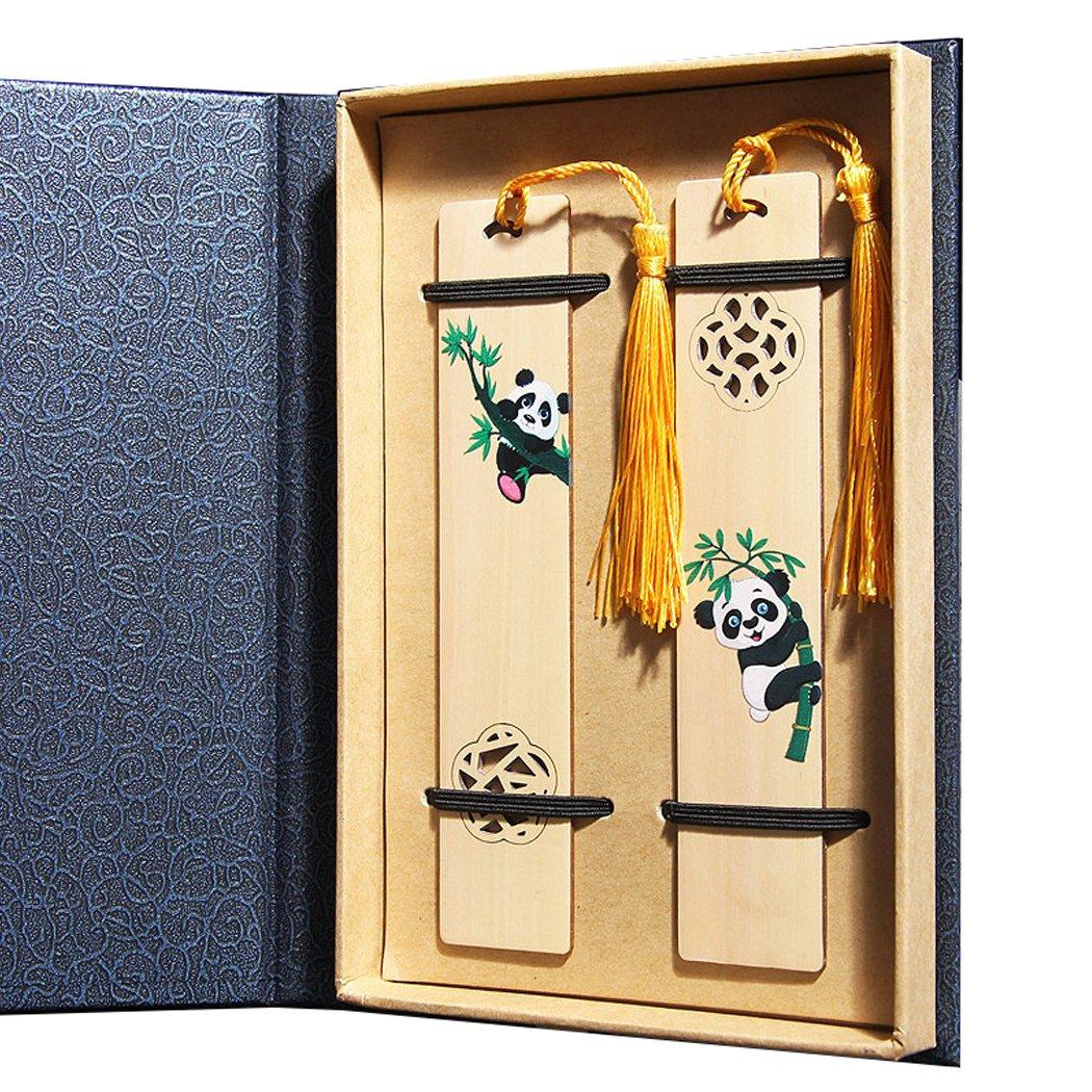 Handgefertigt aus Holz Lesezeichen Set mit Quaste traditionellen chinesischen Lesezeichen Einzigartige Geschenke fü r Kinder und friend-gift Box Verpackung Cyprinus Carpio yonghong