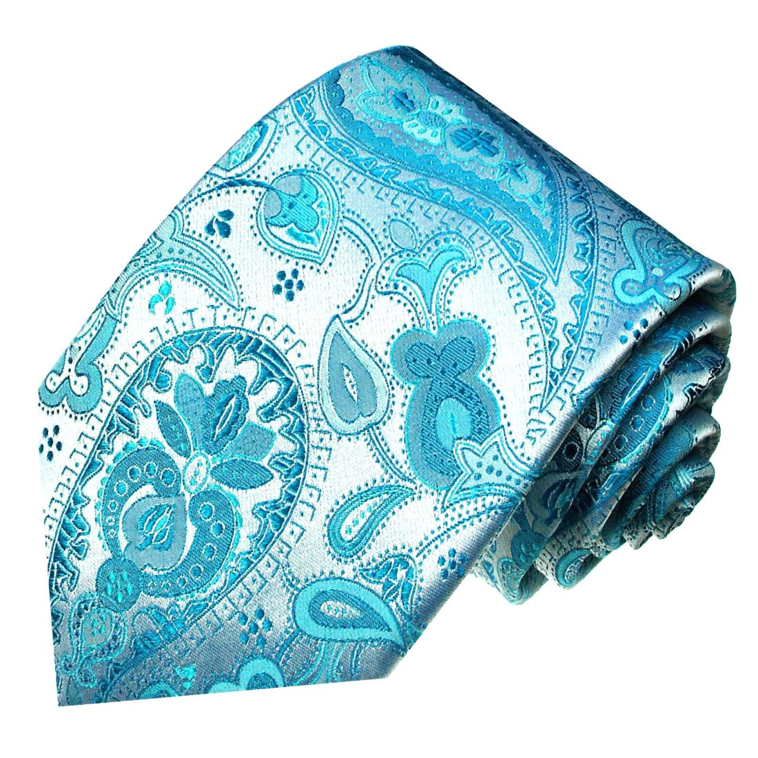LORENZO CANA - PREMIUM Diseño corbata de seda 100% - Turquesa azul ...
