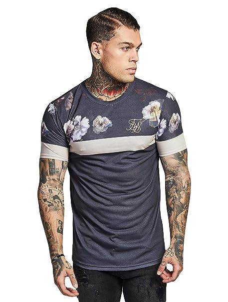 Sik Silk Hombre Camiseta deportiva dobladillo curvado, Negro, Small