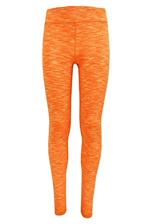 97c1b2badbf5f 90 Degree by Reflex - Kids Space Dye Yoga Pants - Junior Leggings - Neon  Orange