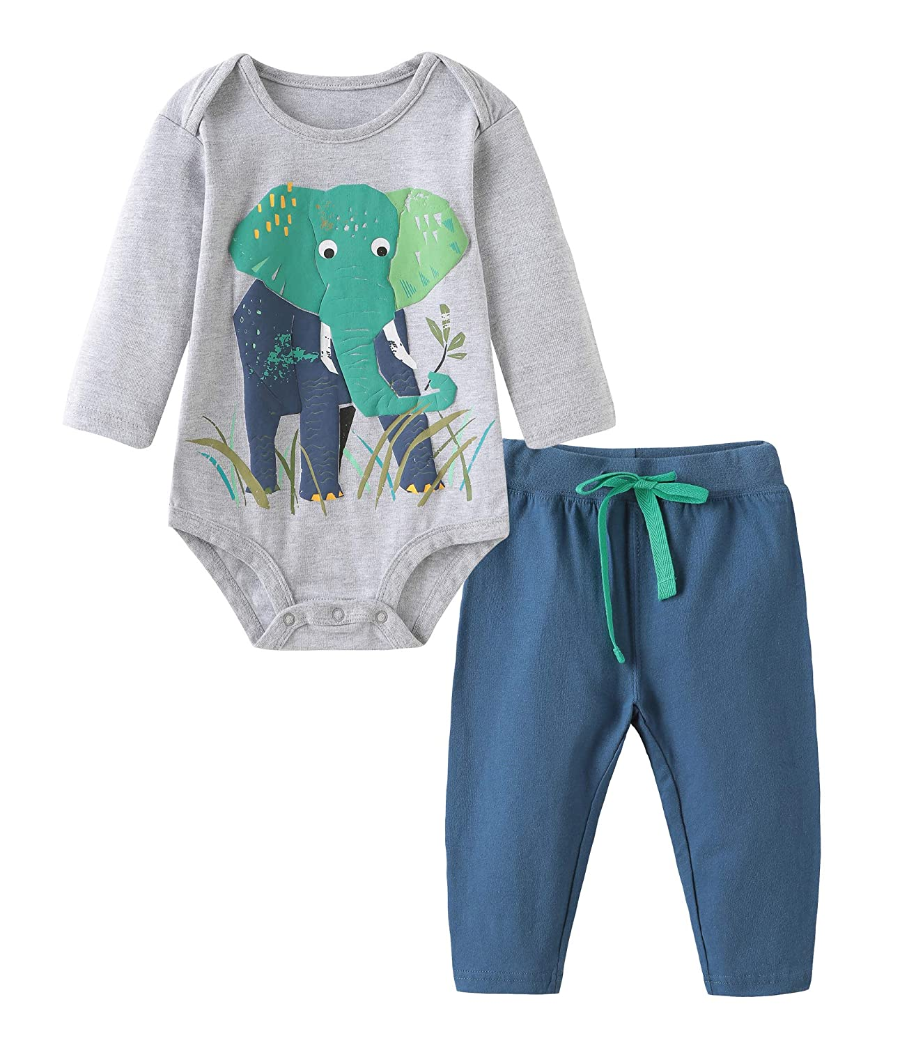 Baby Boys Cotton Sets Shortsleeve Elephant Pattern t-Shirts Shorts 2 pcs Clothing Sets TZbabysetcf001