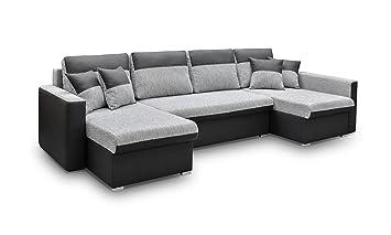 tout neuf 1a2e2 3baed MEUBLO Grand canapé d'angle panoramique Convertibles 6/7 Places Tissu +  Simili Cuir Berlin U (Noir, Canapé d'angle Droit)