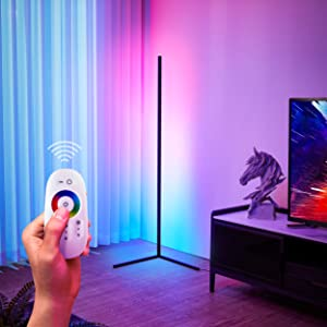 YEEYIN RGB Floor Lamp, Corner Floor Lamp with Remote Control, RGB Colour Changing Atmosphere Standing lamp, Aluminum Alloy Minimalist Floor Lamp, Light for Living Room Decor, for Party