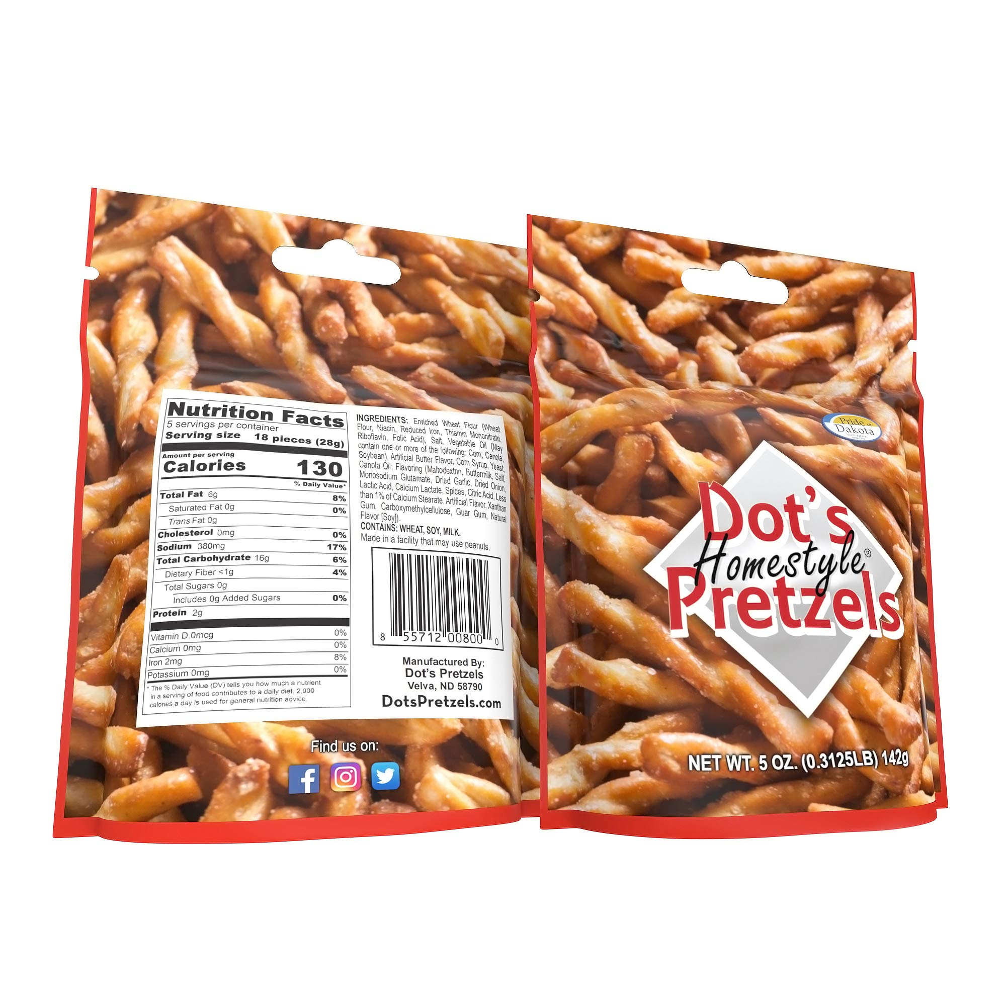 Dot's Homestyle Pretzels 5 oz. Bags (5 Pack) Snack Sized Seasoned Pretzel Snack Sticks by Dot's Homestyle Pretzels (Image #7)