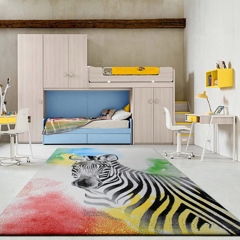 Taleta Kinderteppich Schmetterlinge Design Kinderzimmer 80x150cm Gr/ö/ße Farbe Mehrfarbig in Rosa Wei/ß Gelb