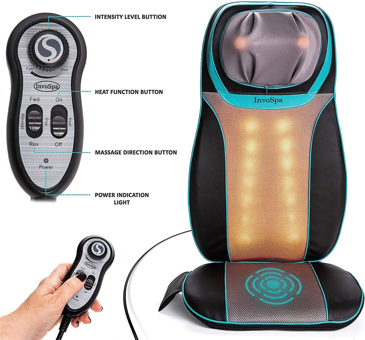 Shiatsu Neck and Back Massager Chair with Heat – Massage Seat Cushion with Rolling, Kneading Vibration – Full Back Shoulder Deep Tissue to Relieve Muscle Pain – for Home Office