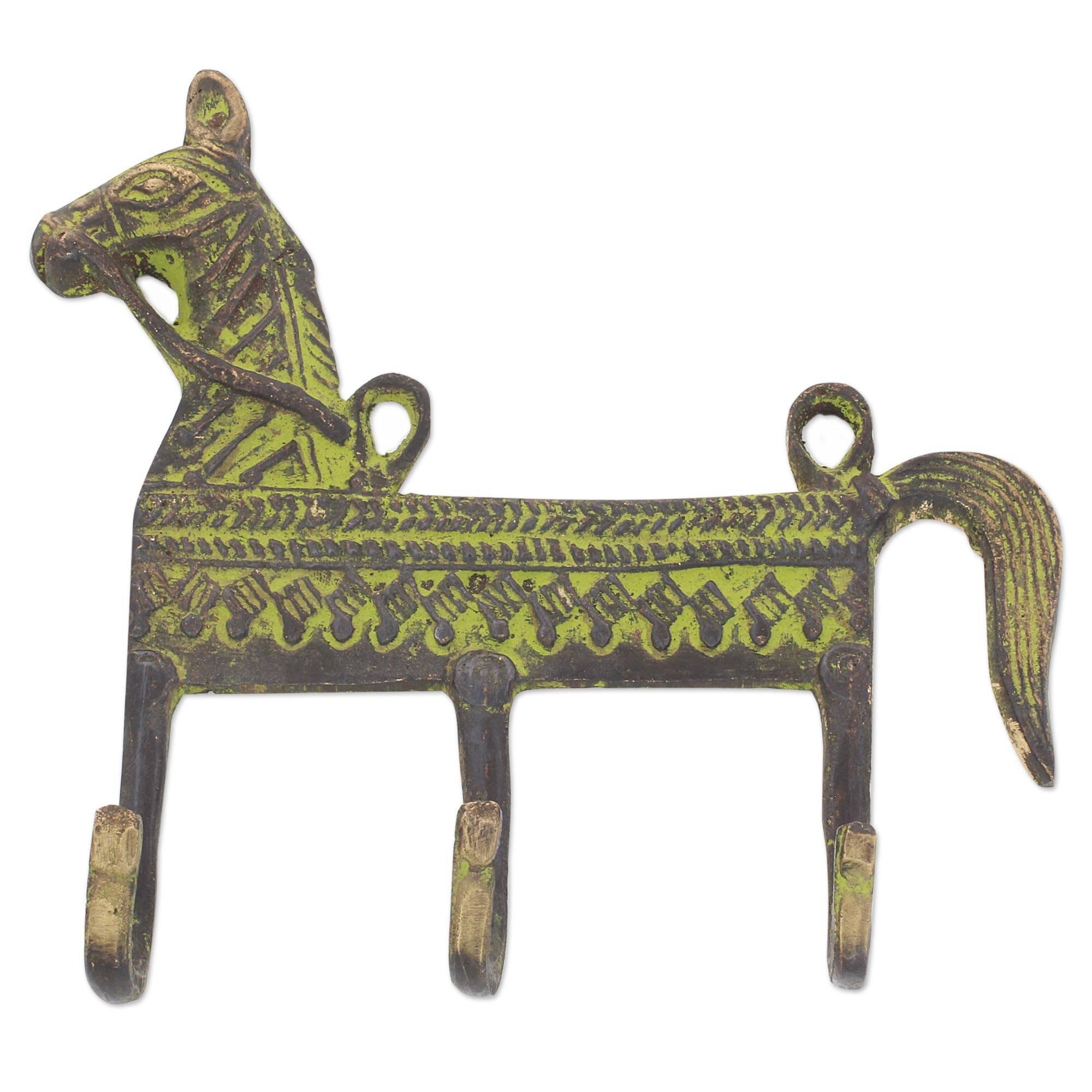NOVICA Animal Themed Metallic Brass Wall Mounted Coat Hanger, Green, Helpful Horse'