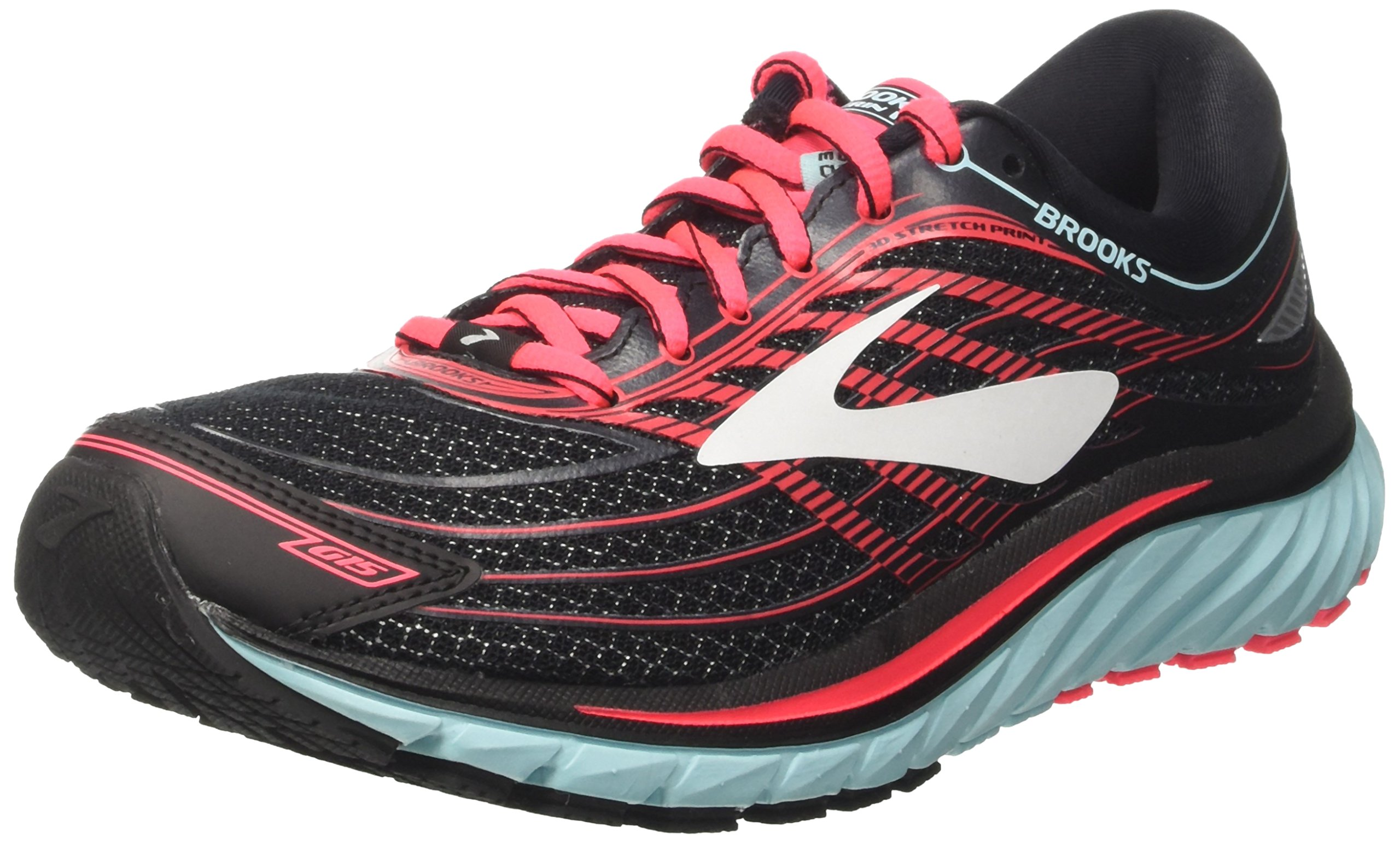 Brooks Women's Glycerin 15 Black/Island Blue/Diva Pink 7 B US B (M)