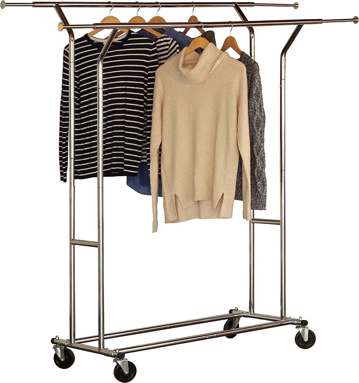 Commercial Grade Double Rail Garment Rolling Rack