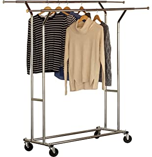 Amazon.com: AmazonBasics Rolling Double Rail Clothing ...