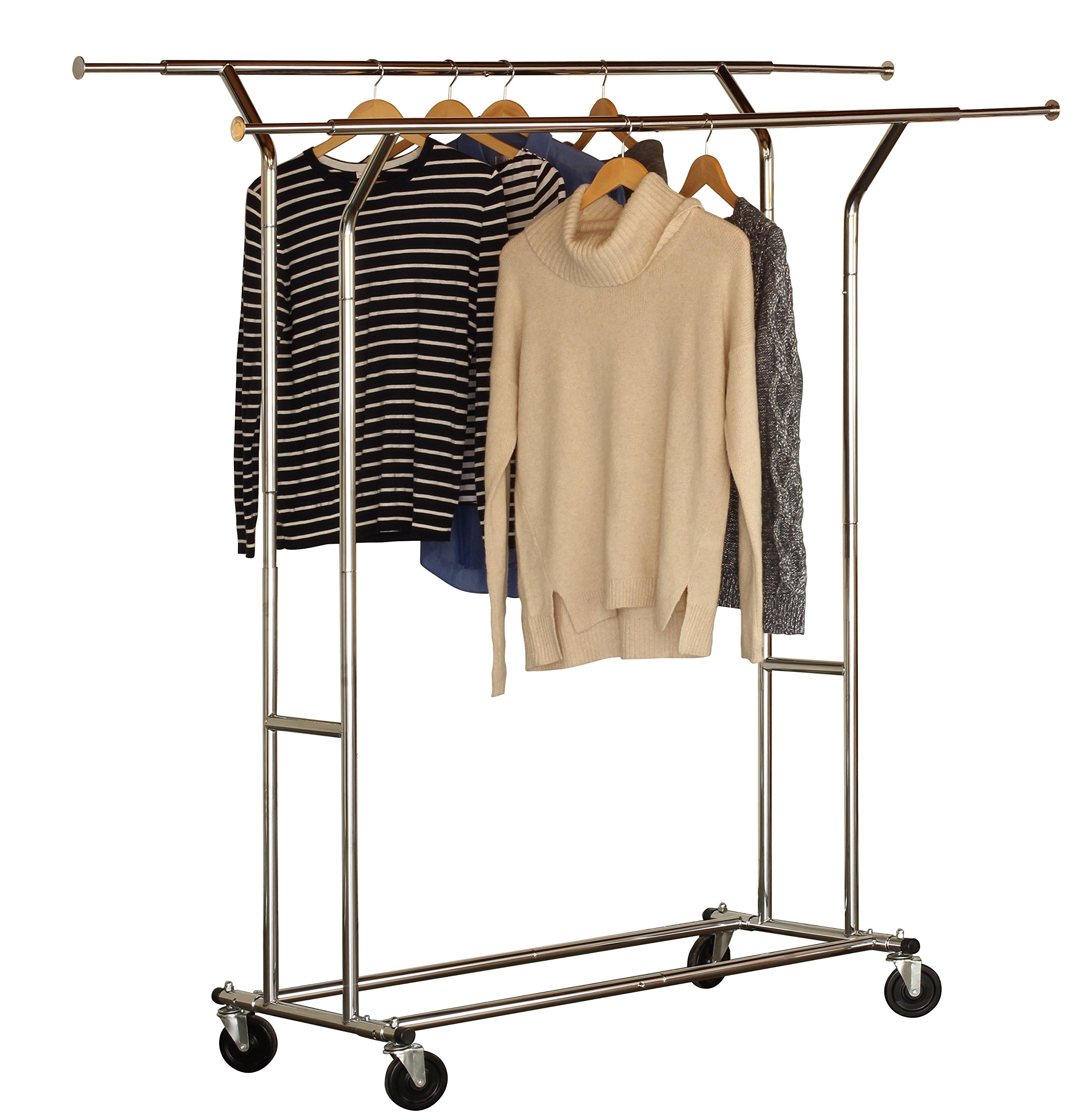 DecoBros Supreme Commercial Grade Double Rail Garment Rolling Rack, Chrome Finish by Deco Brothers