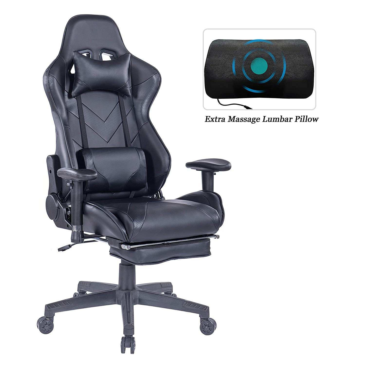HEALGEN Gaming Chair with Retractable Footrest-Racing Style Gamer Chair-High-Back Ergonomic Reclining PC Computer Desk Office Chair with Headrest Lumbar Support Cushion (GM203 Black)