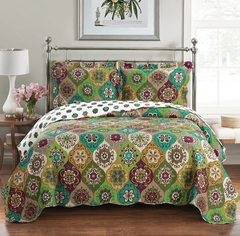 Bonnie Queen Size, Over-Sized Coverlet 3pc set, Luxury Microfiber Printed Quilt by Royal Hotel