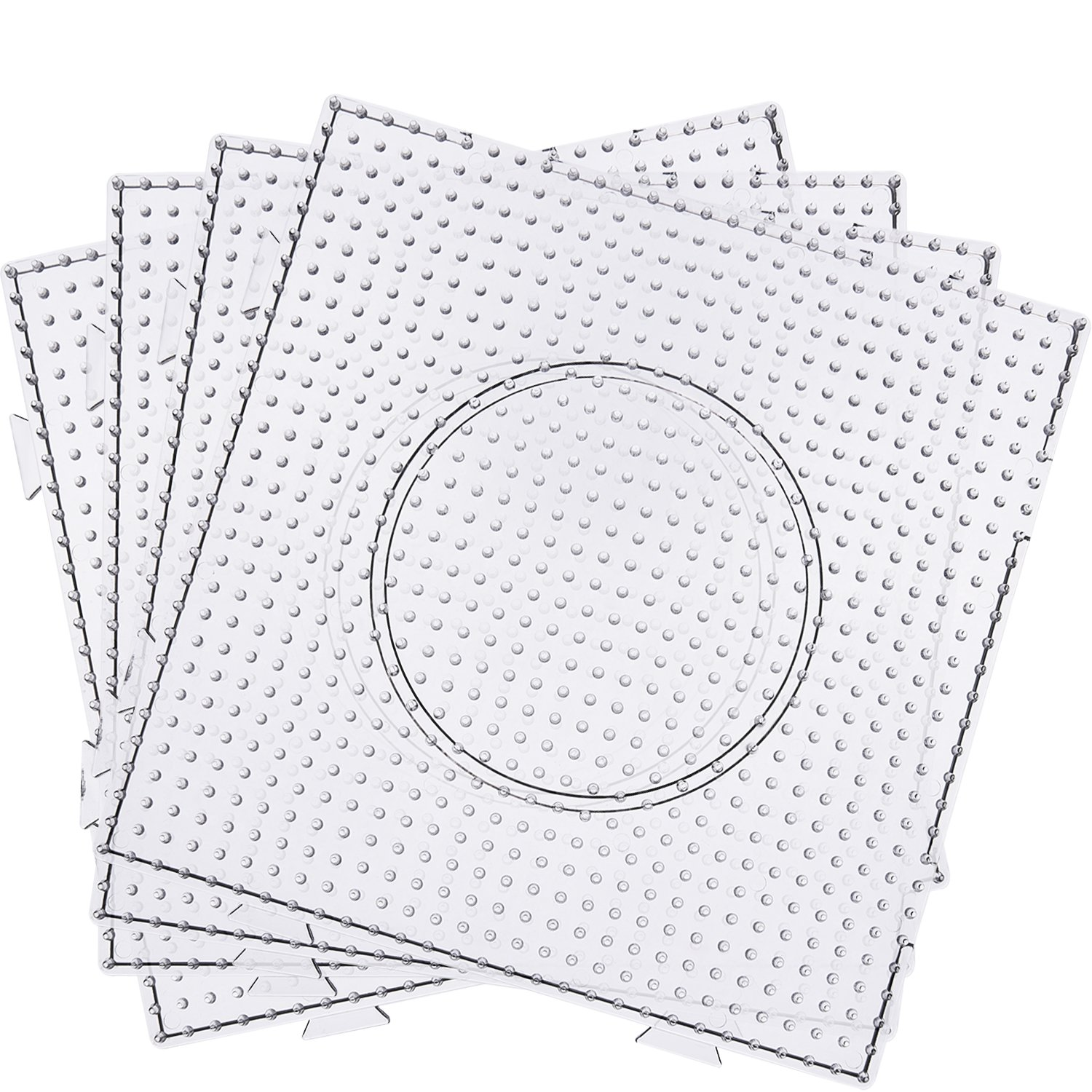 Maxdot 5 mm Large Square Fuse Beads Boards Clear Plastic Pegboards for Kids Craft Beads (4 Pieces)