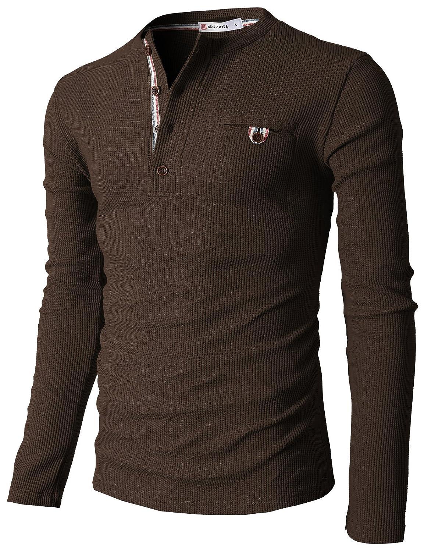 【H2H】 メンズ カジュアル ファッション ワッフル ヘンリー Tシャツ ポケット付き CMTTS0147 B01HRJF09M XL|062-ブラウン 062-ブラウン XL