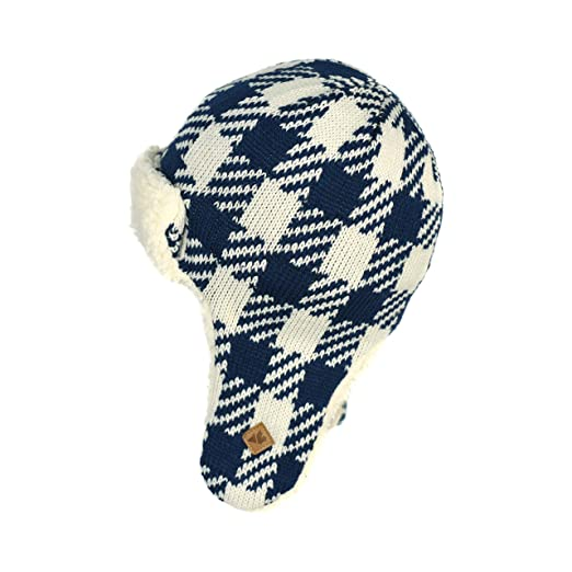 Chenille Soft Buffalo Plaid Trapper Beanie Stretchy Winter Peruvian Hat  with Ear Flaps (Navy and 6ca0447c4f81