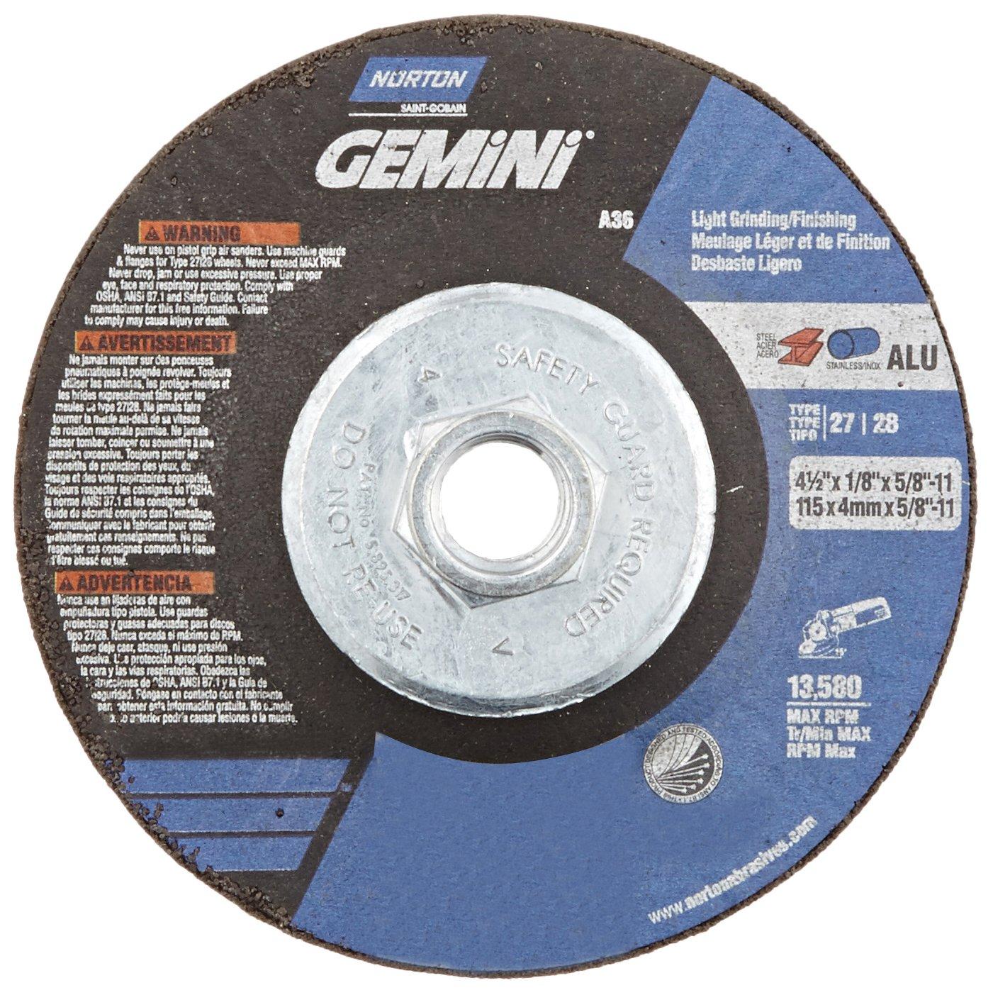 Type 29 5//8-11 Hub Norton Charger Flex Depressed Center Abrasive Wheel Aluminum Oxide 4-1//2 Diameter x 1//8 Thickness Gobain 66252842203 Pack of 10 Grit 36 5//8-11 Hub 4-1//2 Diameter x 1//8 Thickness St