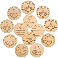 KINBOM 13pcs 4inch Baby Milestone Cards, Round Wooden Monthly Milestone Markers Double-Sided Carved Baby Photo Props…