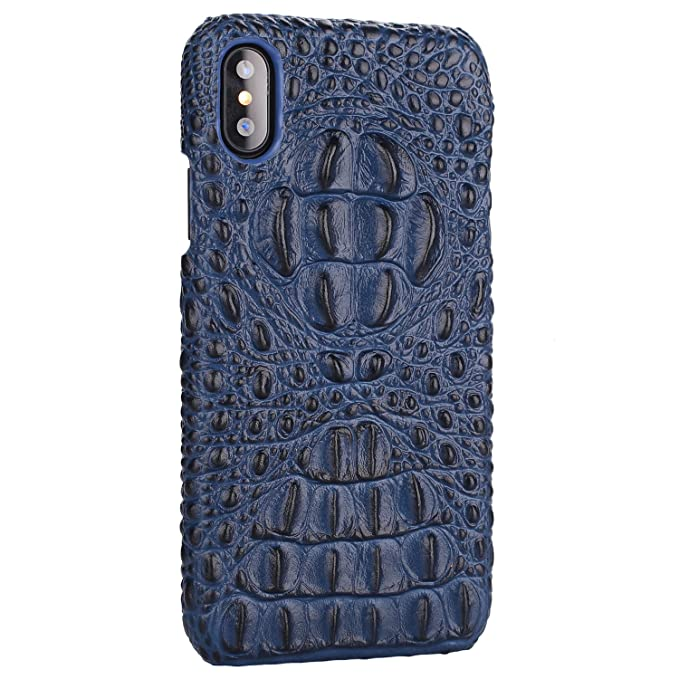 timeless design 250c0 a1e76 iPhone Xs MAX Genuine Leather (Crocodile Head) Case Cow Cover Real Leather  Alligator Skin Texture[Ultra Slim Handmade] New Slim Design Back Cover for  ...