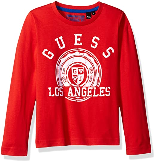 558703c16 GUESS Boys' Little Long Sleeve Crew Neck Graphic Tee, Dressy Ocean Coral 5