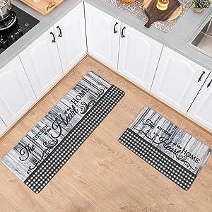 Asrug Black and White Plaid Checkered Comfort Kitchen Standing Desk Mat Anti Fatigue Ergonomic Floor Pad Rug Waterproof Stain Resistance Non Slip Kitchen Set, 17.3''x27.6''+17.3''x47.2'', Wood Plaid