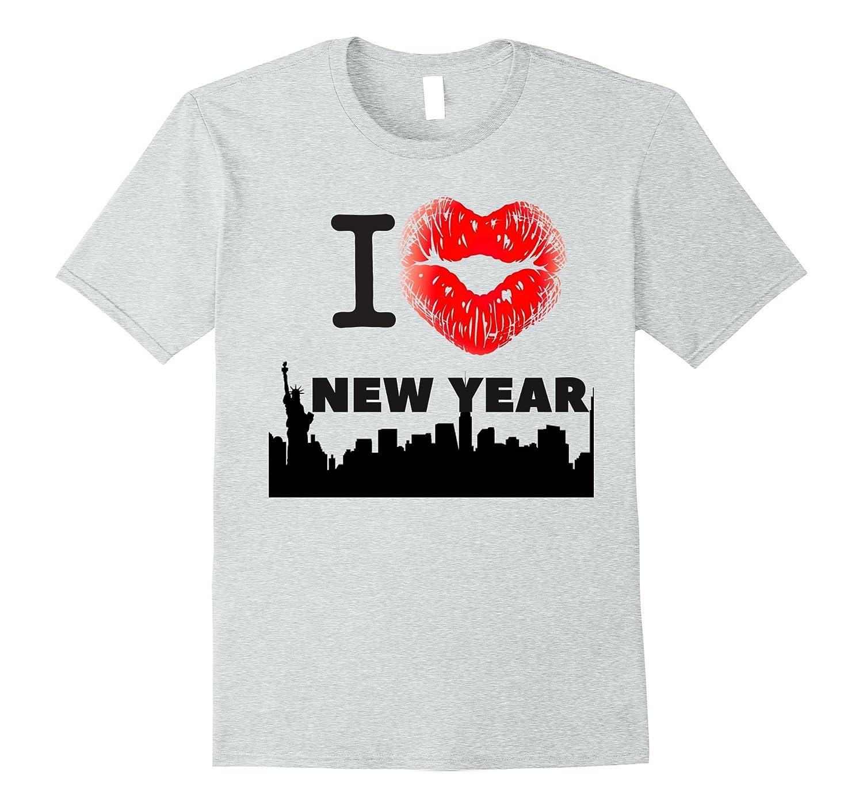 I Love NEW YEAR T-Shirt Funny Heart Kiss Lips New Years Tee-ANZ