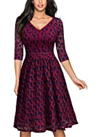 MissMay Women's Vintage Full Lace Overlay Sexy Low-Cut Big Swing Dress