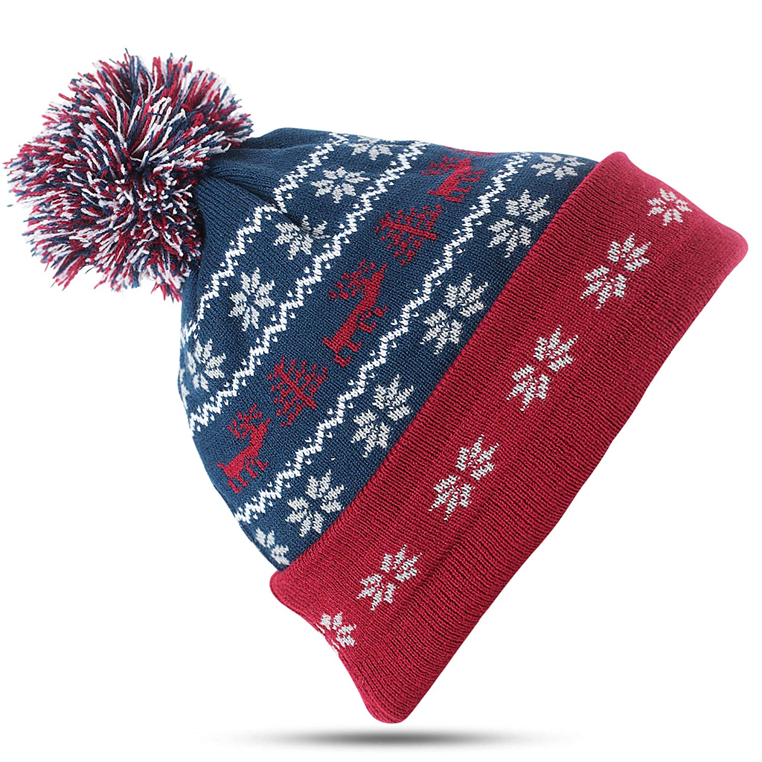 Christmas Hats for Men   Women  Ugly Sweater Red   Green Beanie Winter Snow  Ski Hat Blue at Amazon Men s Clothing store  9d831ad02e1
