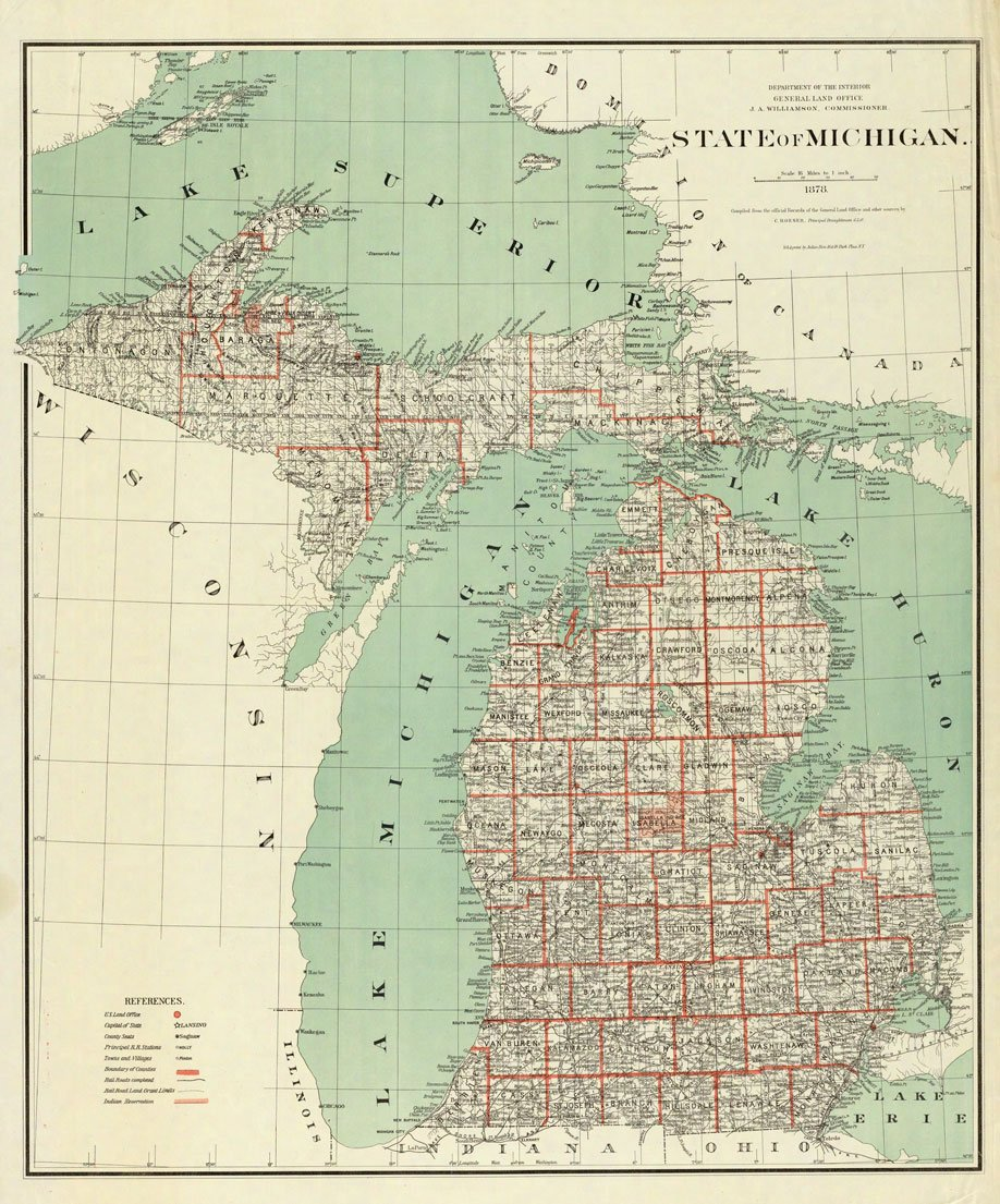 Amazoncom X Poster Map Of Michigan Great Lakes  P In - Us map poster 24x36