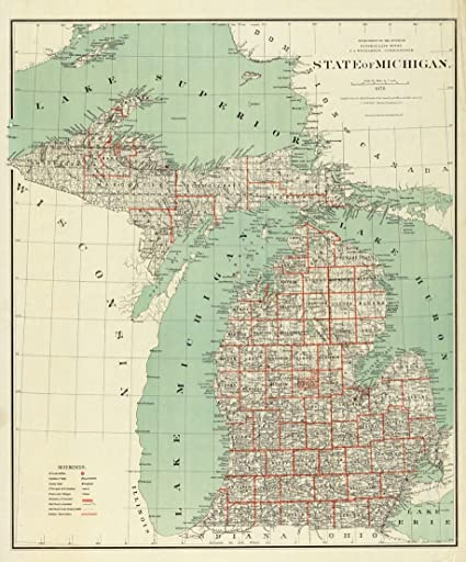 Amazoncom Old Historical Wall Map Michigan Great Lakes - Historical wall maps