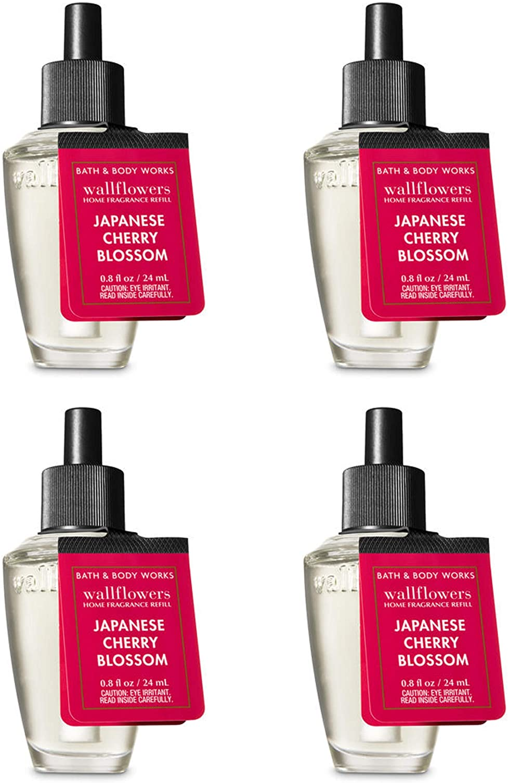 Bath and Body Works Japanese Cherry Blossom Wallflower Fragrance Refill. 4 Pack 0.8 Oz