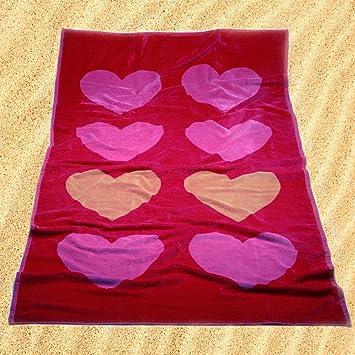Burrito Blanco Toalla de Playa/Toalla de Piscina 176 Grande Algodón 100% Tacto de Terciopelo de 95x170 cm Estampado de Corazones, Rosa: Amazon.es: Hogar