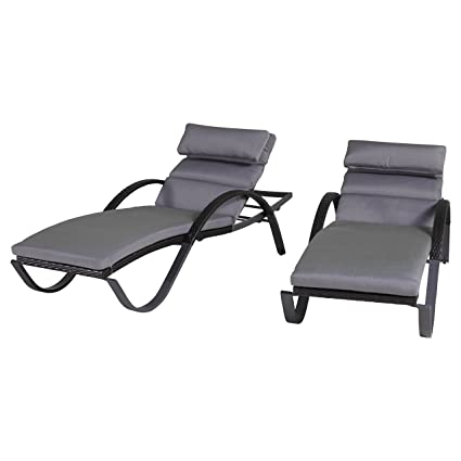 Amazoncom Rst Brands Deco Set Of 2 Chaise Lounges Charcoal Grey