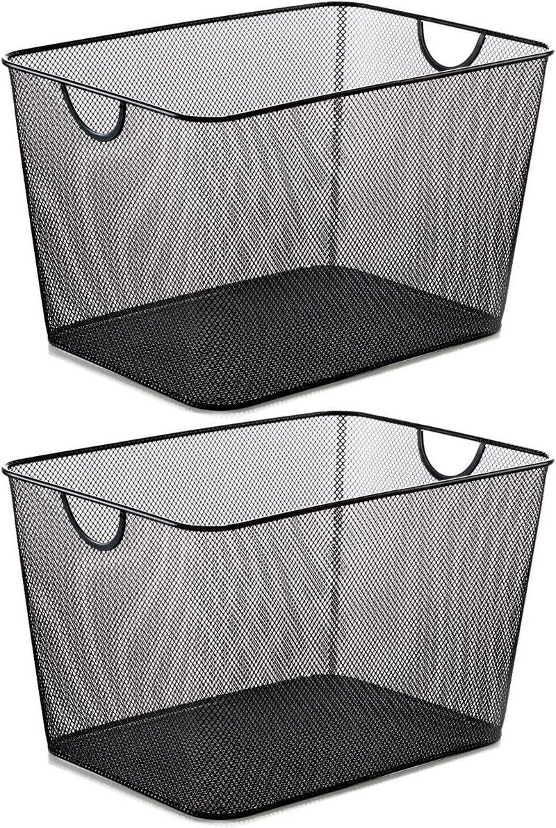 YBM HOME Household Wire Mesh Metal Steel Storage Basket Organizer, Open Bin Shelf Organizer for Kitchen, Cabinet, Pantry, Fruit and Vegetables (2-Pack, 15x12x10.8) 2268s-2