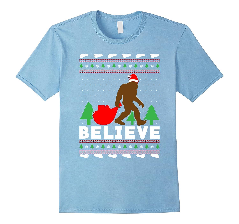 Christmas Believe Shirt FUNNY Bigfoot Ugly Xmas Sweater Tee-ANZ