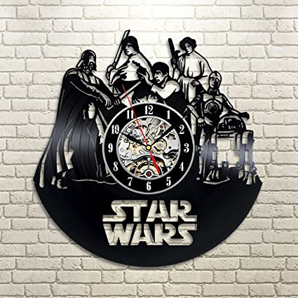 Star Wars Death Star Darth Vader Luke Skywalker Movie Characters Vinyl Record Design Wall Clock -