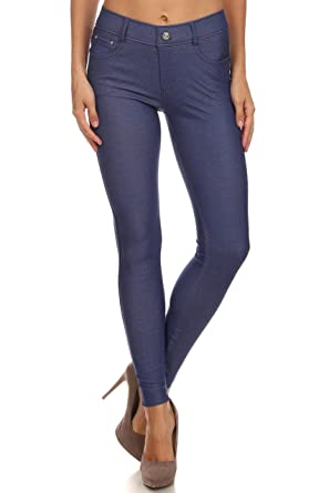 f0d3e992b8b432 Long Jeggings for Women Skinny Stretch Fitted Pull On Jeggings Pants,  Pockets Denim Blue Small
